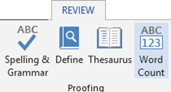 word count for selected text