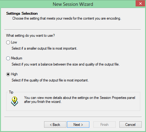 New Session Wizard