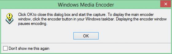 Windows Media Encoder start capturing