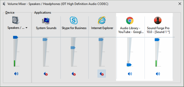 Select background music in Windows Volume Mixer
