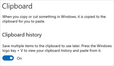 Windows Clipboard History enable option