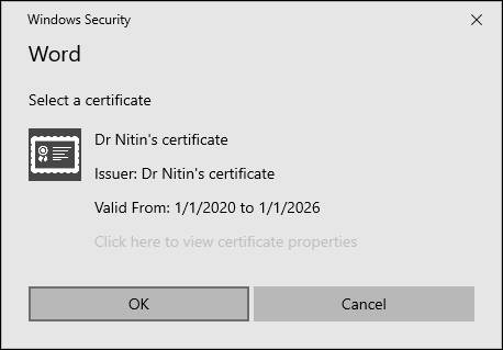 Choosing the digital certificate for the VBA project