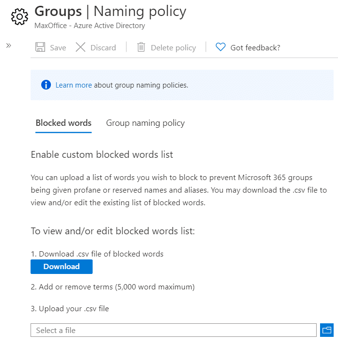 Group Policy to create woreds banned for Teams team names