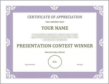Certificate sample photo